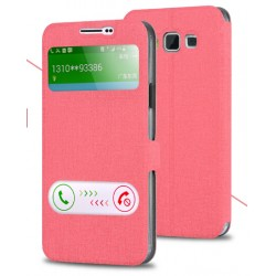 Etui Protection S-View Cover Rose Pour Samsung Galaxy A7