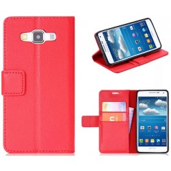 Protection Etui Portefeuille Cuir Rouge Samsung Galaxy A7