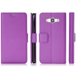 Protection Etui Portefeuille Cuir Violet Samsung Galaxy A7