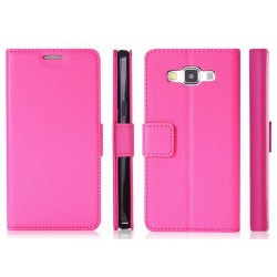 Protection Etui Portefeuille Cuir Rose Samsung Galaxy A8