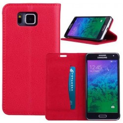 Protection Etui Portefeuille Cuir Rouge Samsung Galaxy Alpha