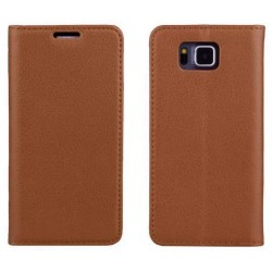 Samsung Galaxy Alpha Brown Wallet Case