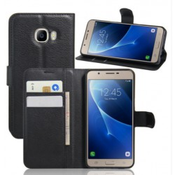 Samsung Galaxy C9 Pro Black Wallet Case