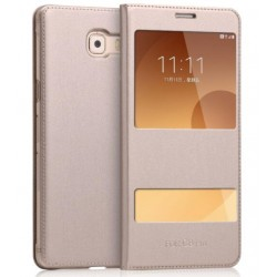 Gold S-view Flip Case For Samsung Galaxy C9 Pro