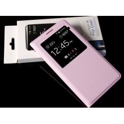 Etui Protection S-View Cover Rose Pour Samsung Galaxy E5