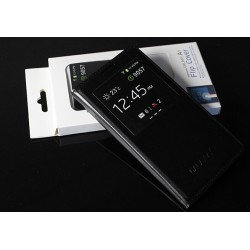 Etui Protection S-View Cover Noir Pour Samsung Galaxy E7