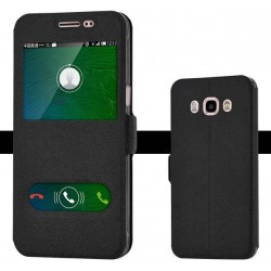 Black S-view Flip Case For Samsung Galaxy J5 (2016)