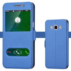 Etui Protection S-View Cover Bleu Pour Samsung Galaxy J7 (2016)