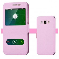 Etui Protection S-View Cover Rose Pour Samsung Galaxy J7 (2016)