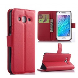 Protection Etui Portefeuille Cuir Rouge Samsung Galaxy J7