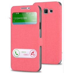 Etui Protection S-View Cover Rose Pour Samsung Galaxy J7