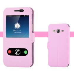 Pink S-view Flip Case For Samsung Galaxy J3 Pro