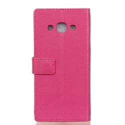 Protection Etui Portefeuille Cuir Rose Samsung Galaxy J3 Pro