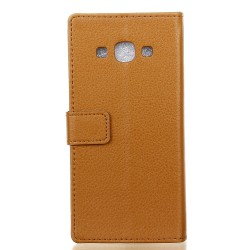 Protection Etui Portefeuille Cuir Marron Samsung Galaxy J3 Pro