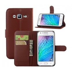 Protection Etui Portefeuille Cuir Marron Samsung Galaxy J3