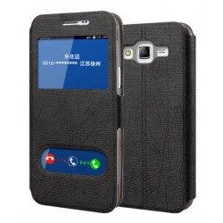 Black S-view Flip Case For Samsung Galaxy On7 Pro