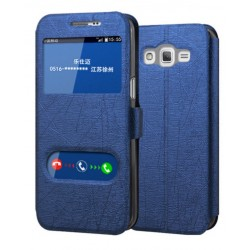 Etui Protection S-View Cover Bleu Pour Samsung Galaxy On7 Pro