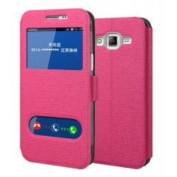 Etui Protection S-View Cover Rose Pour Samsung Galaxy On7 Pro