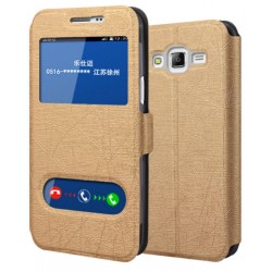 Gold S-view Flip Case For Samsung Galaxy On7 Pro