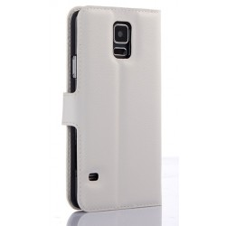 Protection Etui Portefeuille Cuir Blanc Samsung Galaxy S5 Neo