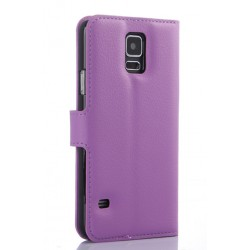 Protection Etui Portefeuille Cuir Violet Samsung Galaxy S5 Neo