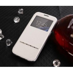 White S-view Flip Case For Samsung Galaxy S6