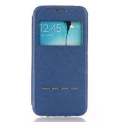 Etui Protection S-View Cover Bleu Pour Samsung Galaxy S6