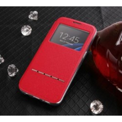 Etui Protection S-View Cover Rouge Pour Samsung Galaxy S6