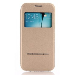 Gold S-view Flip Case For Samsung Galaxy S6