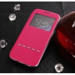 Pink S-view Flip Case For Samsung Galaxy S6 Edge