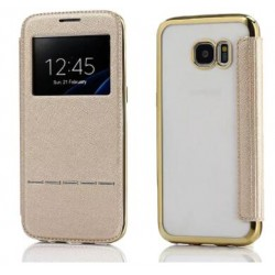 Gold S-view Flip Case For Samsung Galaxy S7