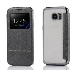 Black S-view Flip Case For Samsung Galaxy S7 Edge