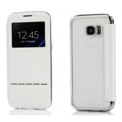 Etui Protection S-View Cover Blanc Pour Samsung Galaxy S7 Edge