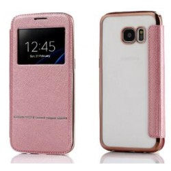 Pink S-view Flip Case For Samsung Galaxy S7 Edge
