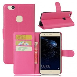 Protection Etui Portefeuille Cuir Rose Huawei P10 Lite