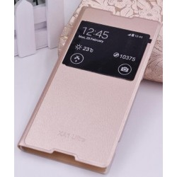 Gold S-view Flip Case For Sony Xperia XA1 Ultra