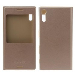 Gold S-view Flip Case For Sony Xperia XZ
