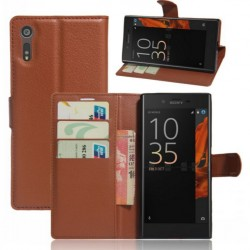 Protection Etui Portefeuille Cuir Marron Sony Xperia XZ