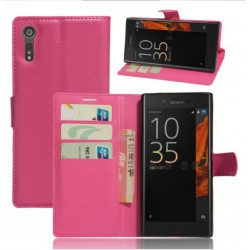 Protection Etui Portefeuille Cuir Rose Sony Xperia XZ