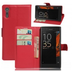 Protection Etui Portefeuille Cuir Rouge Sony Xperia XZ
