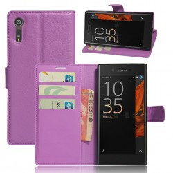 Protection Etui Portefeuille Cuir Violet Sony Xperia XZ