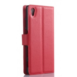 Protection Etui Portefeuille Cuir Rouge Sony Xperia Z5