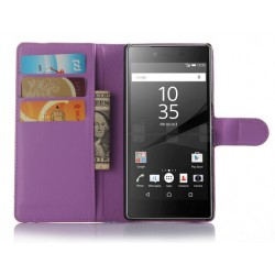 Protection Etui Portefeuille Cuir Violet Sony Xperia Z5