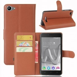 Protection Etui Portefeuille Cuir Marron Wiko Lenny 3 Max (2017)