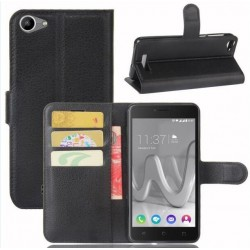 Protection Etui Portefeuille Cuir Noir Wiko Lenny 3 Max (2017)
