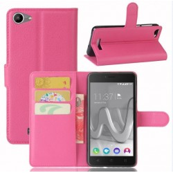 Protection Etui Portefeuille Cuir Rose Wiko Lenny 3 Max (2017)