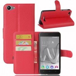 Protection Etui Portefeuille Cuir Rouge Wiko Lenny 3 Max (2017)