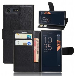 Protection Etui Portefeuille Cuir Noir Sony Xperia X Compact
