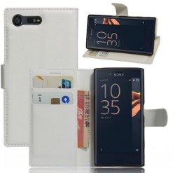 Protection Etui Portefeuille Cuir Blanc Sony Xperia X Compact