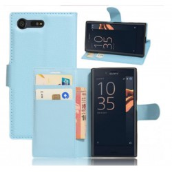 Protection Etui Portefeuille Cuir Bleu Sony Xperia X Compact